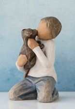 Willow Tree Kindness Boy with Puppy Figurine 27463 Darker Skin Tone and Hair