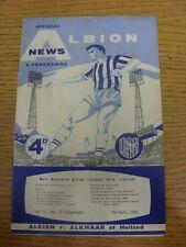 07/04/1964 West Bromwich Albion v Alkmaar [Friendly] (creased). Footy Progs/Bobf