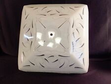 "Mid Century Leaf Motif White Glass Ceiling Light Cover  Shade 17"" Square"
