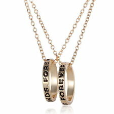 NEW BFF Gold Rings Best Friend Forever Set Pendants 2 Necklace Friendship Ring