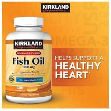 Kirkland Fish Oil 1000mg 400 Softgels W/300mg Omega 3 Fatty Acids 'Concentrated'