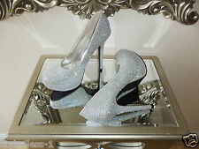 Exquisite Bridal Wedding Occasion Crystal Inset Platform Shoes Size UK 5 New