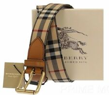 NEW BURBERRY HORSEFERRY CHECK LOGO BROWN LEATHER BUCKLE BELT 100/40
