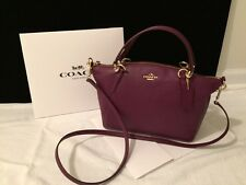 Coach Pebble Leather Small Kelsey Bag F36675 Free Shipping Color is Purple NWT