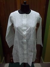 "SHIRT S 38"" FLORAL 100%COTTON ETHNIC HANDMADE CHIKAN EMBROIDERY TOP TUNIC KURTA"