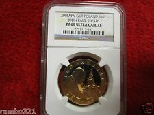 2005 Poland Silver 10 ZL NGC PF68 Pope John Paul II .999 gold plated silver coin