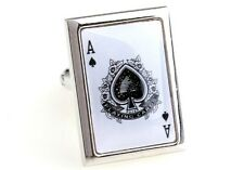 Ace Spades Cufflinks White Card Poker Casino New Fancy Gift Box Free Ship USA