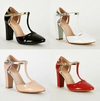 S04 - Ladies Patent T-Bar Shoe with Ankle Strap & Block Heel - UK 3 - 8
