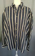 Tommy Hilfiger Blue & White Striped Long-sleeved Mens Button-Down Shirt, Size XL