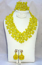 Latest Design Style Yellow Flower Cube African Beads Bridal Wedding Jewelry Set