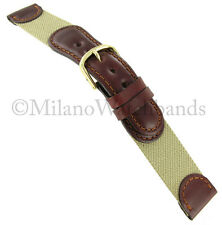 18mm Hirsch Brown Leather Tan Fabric Swiss Army Mens Watch Band Strap J304