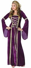 Medieval Purple Velvet Costume Fancy Dress Lady In Waiting Ren Fair Md-Lg