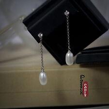 Boucles d`Oreilles Perle de Culture Goutte Long Blanc Argent Massif 925 14mm E