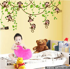 Jungle Monkey Tree Vine Wall Stickers Vinyl Art Mural Kids Baby Boys Room Decor