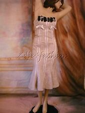 $5470 New CHRISTIAN LACROIX Purple Pink Brocade Black Beaded Bustier Dress 38 6