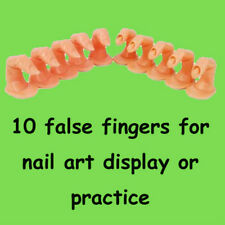 10Pcs Nail Art Practice Finger Display Training False Acrylic Tips Manicure Tool
