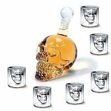 550 ML + 6 pcs Doomed Skull Shot Glass Skull Head Shot Glass Skull Wine Vodka UK