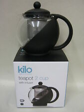 New Cks Kilo Glass Teapot  With Infuser 2 Cup Black Body Tea Pot D06