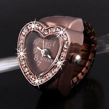 "Rose Gold Heart Crystal Rhinestone Lady Ring Watch Finger Watch 0.8"" CHIC"