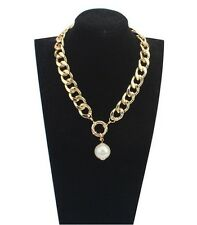 European Fashion Charm Chunky Gold Plating Chain Big Pearls Choker Necklace