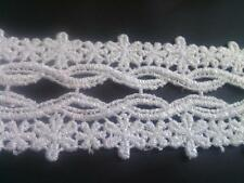 """1 Y white scalloped Venice Venise scalloped lace trim 2 1/4"""" w ship From U.S.A"""