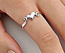 .925 Sterling Silver Ring size 10 Heart Thumb Knuckle Midi Love Ladies New p78