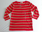Women's Jones New York Crew Neck Sheer Knit Sweater Red Striped Size Large