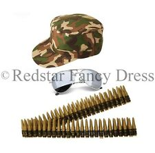 ARMY FANCY DRESS CAMOUFLAGE BULLET BELT HAT AVIATORS MENS LADIES UNISEX