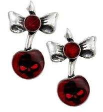Alchemy Gothic Pair of Black Cherry Stud Earrings Goth Pewter Jewellery