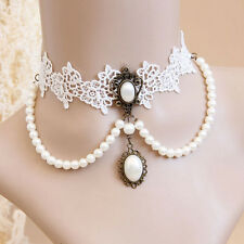 Choker White Gothic Lace Pearl Necklace Collar Victorian Necklace Costume Decor
