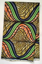 African Fabric, Ankara - Green, Brown, Blue 'Waves Of Mombasa', By the Yard