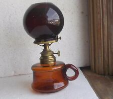 1880s AMBER MINI NUTMEG TYPE OIL LAMP W/RARE RUBY RED GLASS CIGAR LIGHTER GLOBE