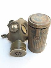 WWII WW2 GERMAN MILITARY ARMY WEHRMACHT 1936 GAS MASK & CARRYING CANISTER