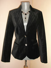 Goth Steampunk BLACK Velvet white pin stripe fitted BLAZER JACKET 8 10 UK H&M