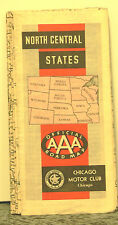 1935 Road Map of the North Central States by the Chicago Motor Club AAA