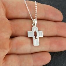 Cross w/ Ichthys Cutout Pendant Necklace 925 Sterling Silver Christian Fish NEW