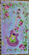 Rock-N-Roses Guitar Fabric Panel Teenage Quilt Pink Roses Lyndhurst Studio