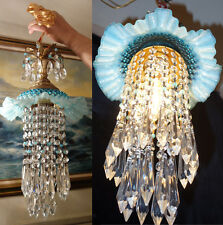 1o3 Vintage Fenton AQUA Jelly Fish Glass hanging brass tole SWAG Lamp chandelier