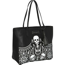 Loungefly Embossed Bandana Tote With Tassels - Blk/Wht