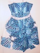 Bagdley Mischka 8 Blue White Beaded Waist Strapless Cocktail Formal Party Dress