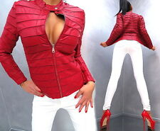 NEU 2017 LEDER OPTIK RED LEATHER LOOK Damen SEXY Jacke Mantel Q41 Blazer Coat L