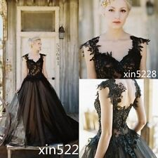 Gothic Vintage Backless Black Wedding Dress A line Bead Sequins Bridal Gown Ball