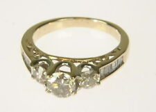 Ladies 14K Yellow Gold 1 CT TW Diamond 3 Stone W. Accents Engagement Estate Ring