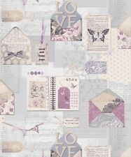 Arthouse PS I Love You Lilac Wallpaper 671201 - Butterfly Letters Diary Tags