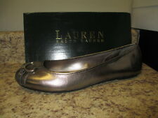 Lauren By Ralph Lauren Abigale Flats 11 M Pewter Leather Upper New with Box