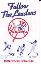 1986 Yankees Schedule Rickey Henderson Mattingly Guidry - Long Island Savings Ad