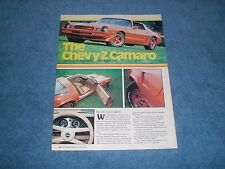 """1980 Chevy Camaro Z28 Vintage Info Article """"Moving Ahead into the Eighties"""" Z/28"""