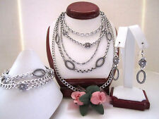 "Brighton ""FIFTH AVENUE"" Necklace-Earring-Bracelet Set (MSR$162) NWT/Pouch"