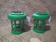 Green Outdoor Solar Carriage Lantern  Set of Two