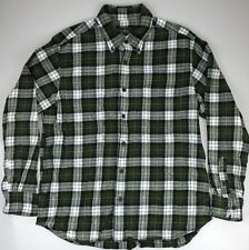 Mens Eddie Bauer Sport Shop Shirt Thick Hunting Soft Flannel Green Plaid - Large